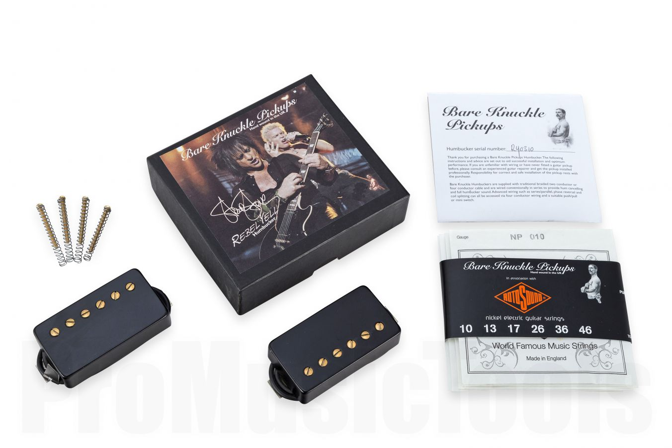 Bare Knuckle Pickups Rebel Yell Calibrated Covered Set - Black with Gold Screws