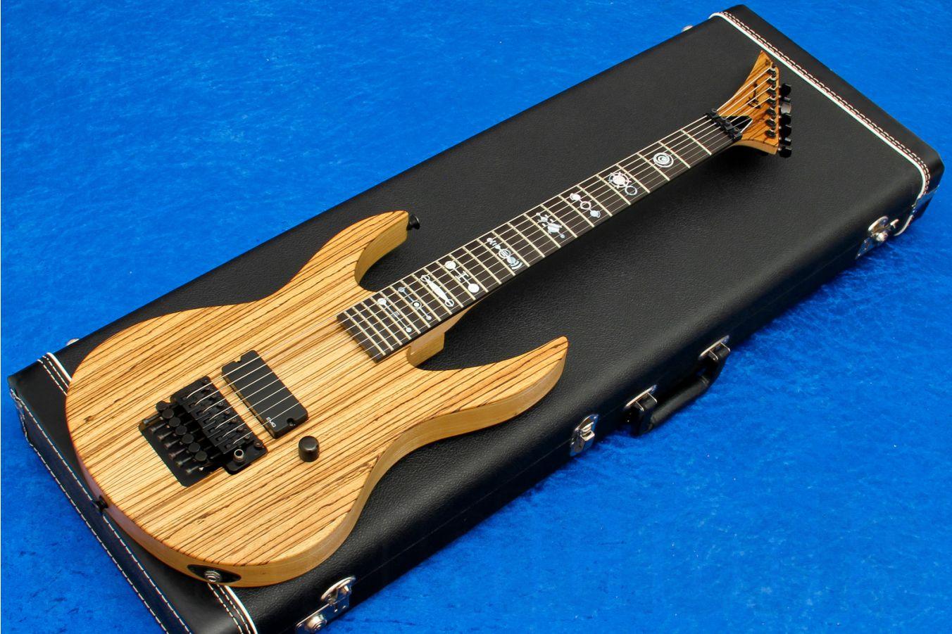 Charvel USA Custom Shop Demon 7 FR - Natural Ash Zebrawood Top