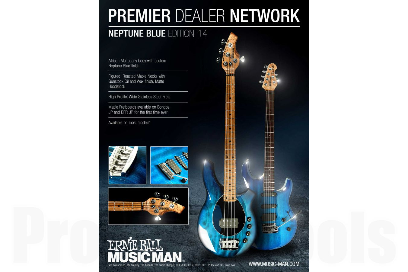 Music Man USA Luke BFR QT NB - PDN Neptune Blue Roasted Neck Limited Edition MN