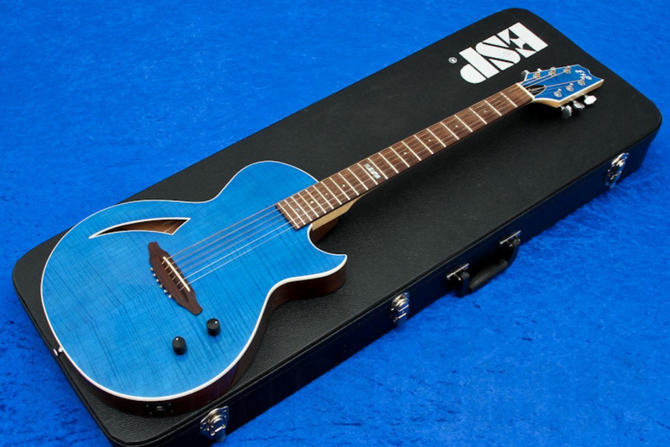 ESP Eclipse CS Semi-Acoustic STB - See Thru Blue - Custom Shop
