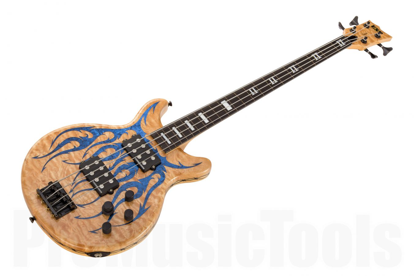 ESP Custom Shop B-1 Neck-Thru Lined Fretless Bass - Natural w/ Flames Graphics