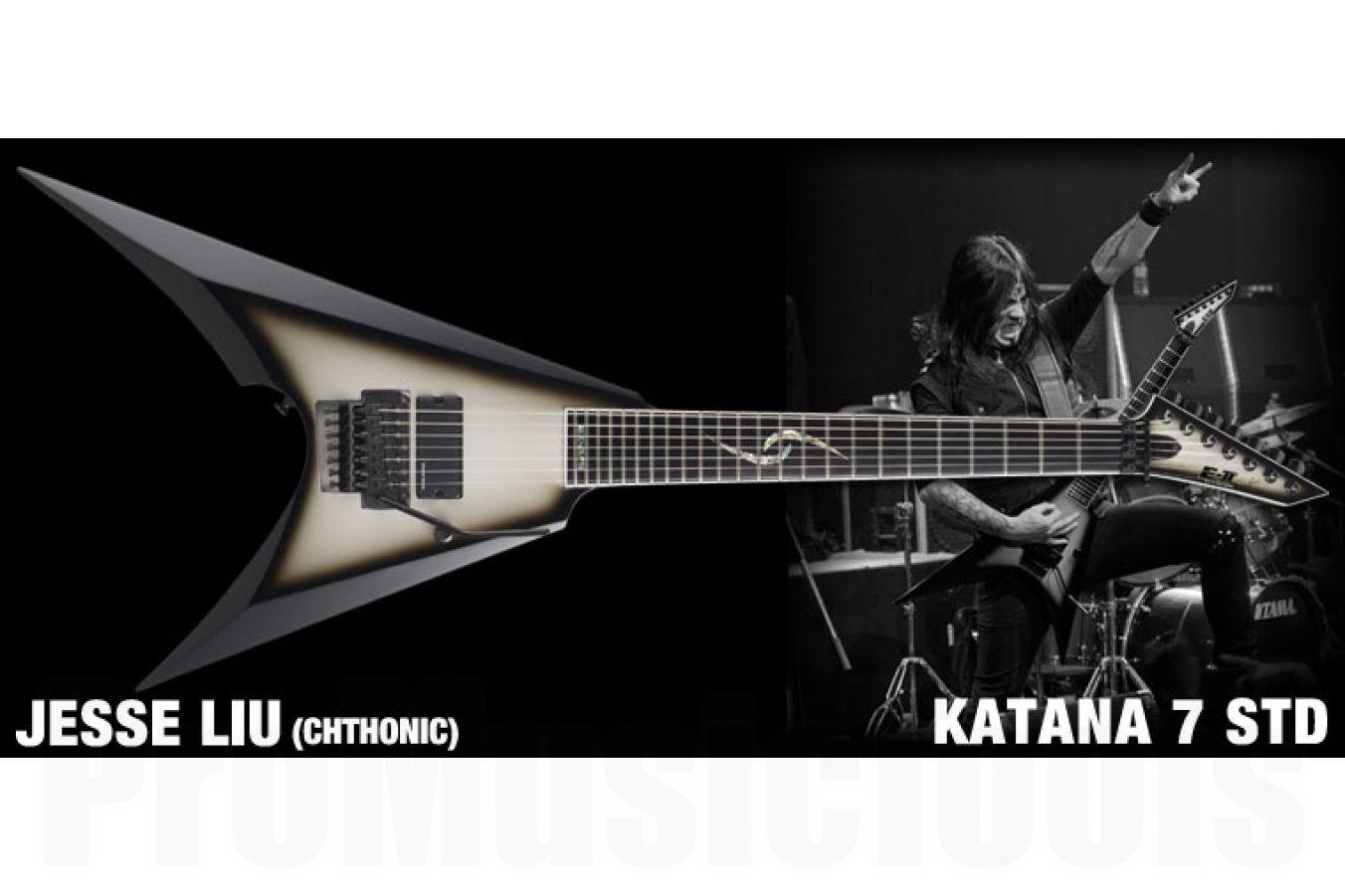 ESP E-II Jesse Katana 7 BK/SI - Black-Silver-Sunburst