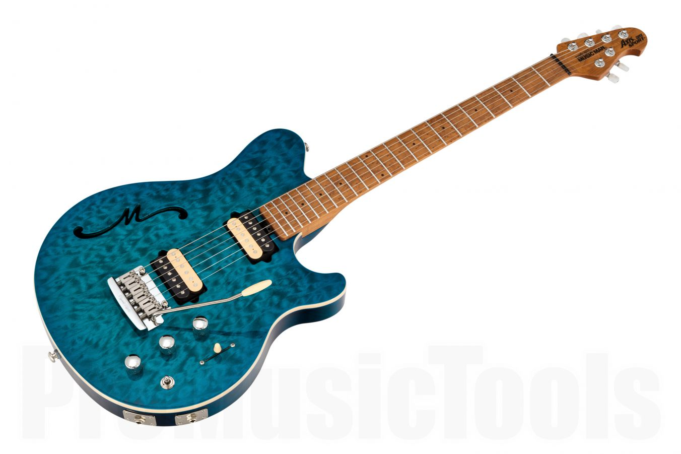 Music Man USA Axis Super Sport Semi-Hollow Body Trem Piezo NB - PDN Neptune Blue Roasted Neck Limited Edition MN
