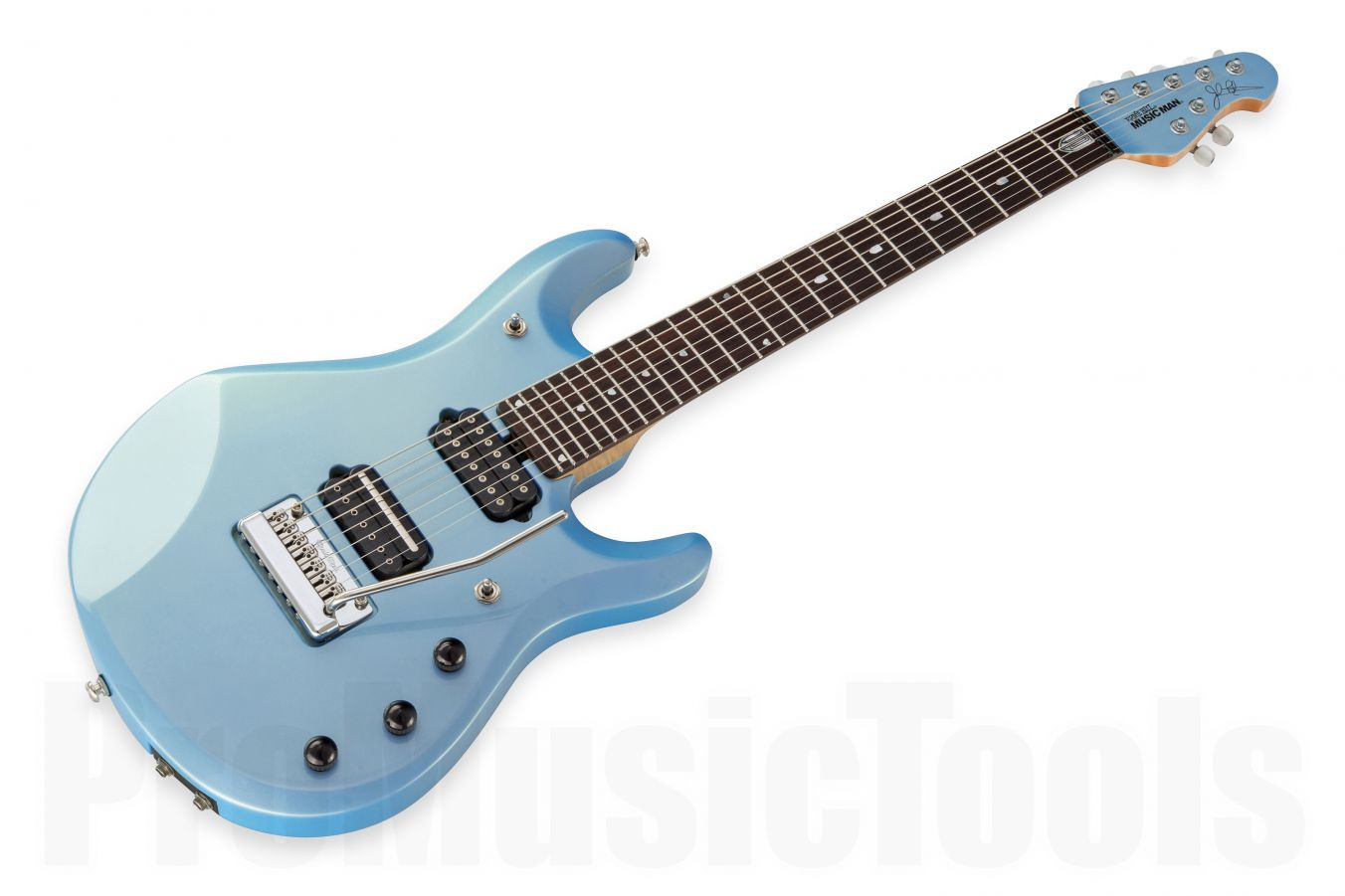 Music Man USA John Petrucci JP7 Piezo SKB - Sky Blue MH JP Inlays