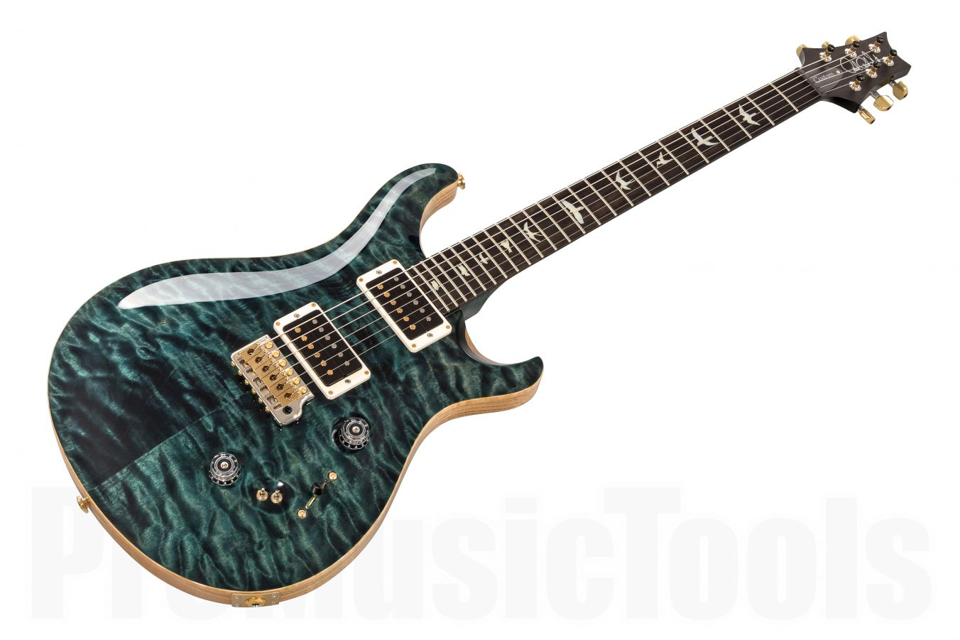 PRS USA Custom 24-08 Experience Wood Library Y9 (ST) - Slate Blue Quilt 10-Top