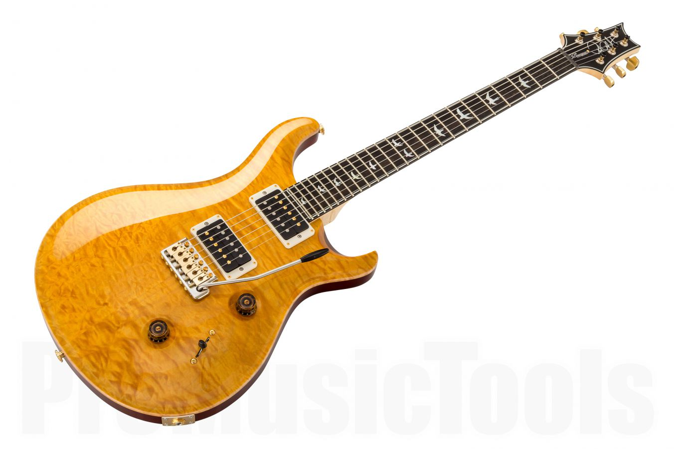PRS USA Custom 24 10-Top Wood Library FD - Faded Vintage Yellow Quilt