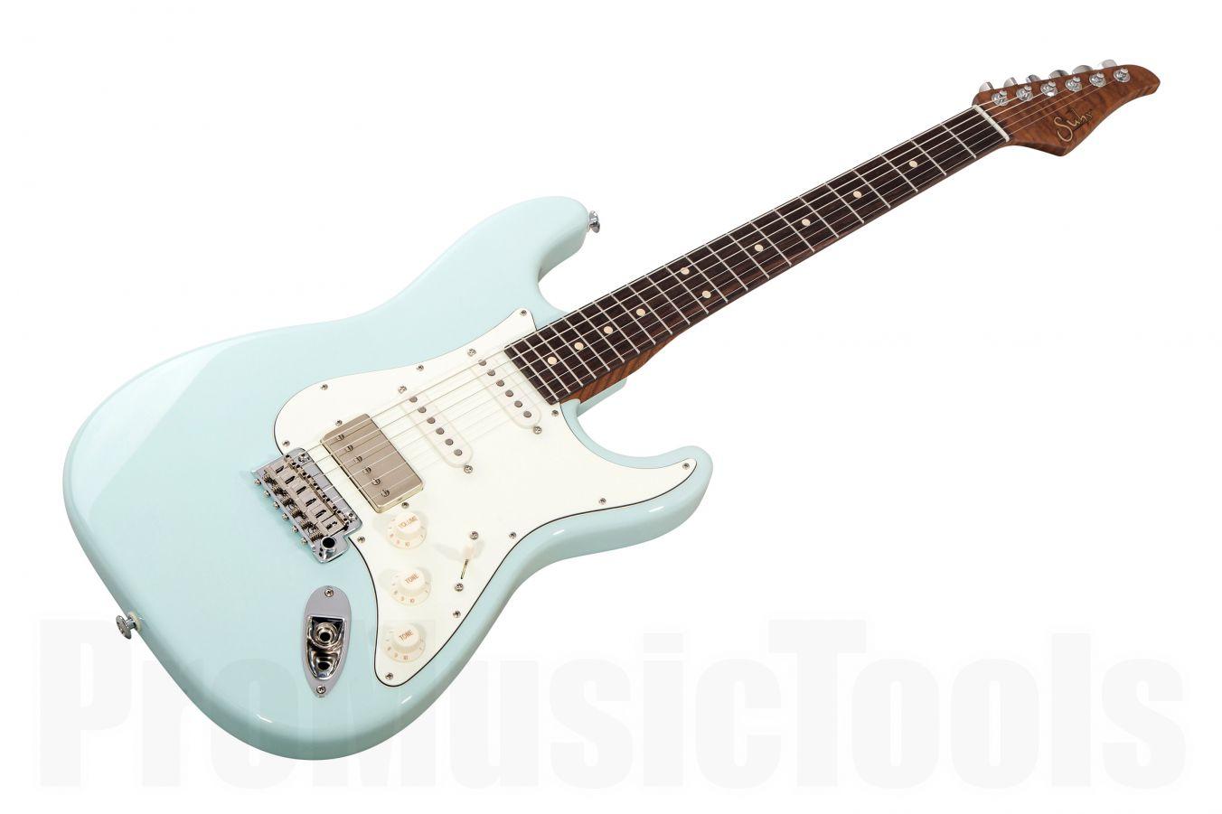 Suhr Classic S HSS Custom Ltd Roasted Flamed Maple SB - Sonic Blue RW