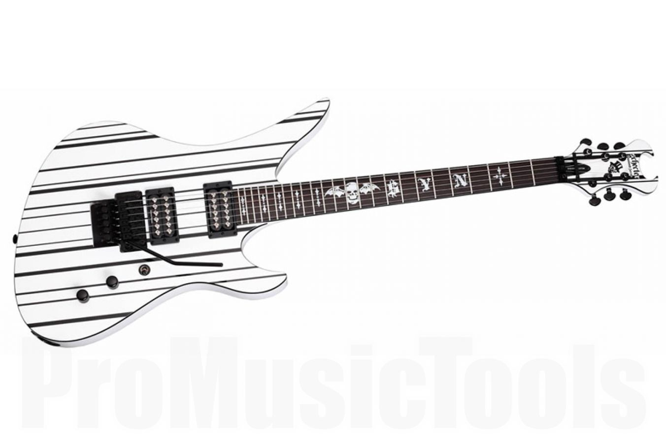 Schecter Synyster Gates Custom SYNWHTBLK - White w/ Black Pinstripes