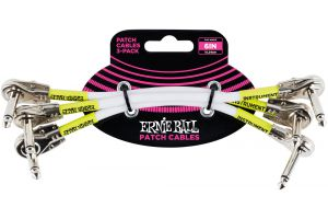 Ernie Ball 6052 Patch Cable Flat Angle/Flat Angle - White - 15.24 cm (6'') - 3 Pack