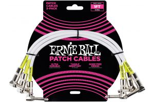 Ernie Ball 6055 Patch Cable Angle/Angle - White - 30 cm (1') - 3 Pack