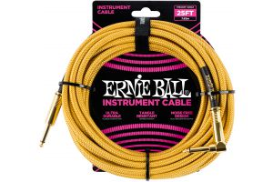 Ernie Ball 6070 Instrument Cable Straight/Angle - Gold - 7.62 m (25')