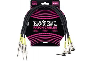 Ernie Ball 6076 Patch Cable Straight/Angle - Black - 46 cm (1.5'') - 3 Pack