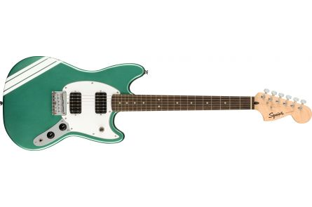 Fender Squier FSR Bullet Competition Mustang HH, LRL, White Pickguard, Sherwood Green with Olympic White Stripes