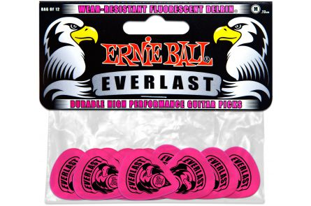 Ernie Ball 9189 Everlast Guitar Pick Medium - Pink - 12 Pack