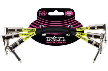 Ernie Ball 6050 Patch Cable Angle/Angle - Black - 15.24 cm (6'') - 3 Pack