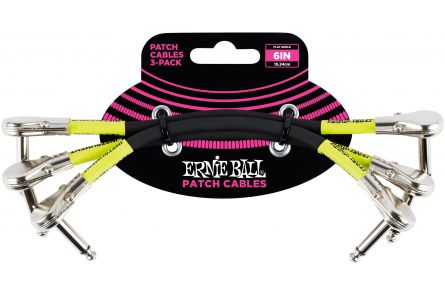 Ernie Ball 6059 Patch Cable Flat Angle/Flat Angle - Black - 15,24 cm (6'') -  3 Pack