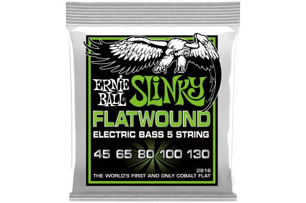 Ernie Ball 2816 Cobalt Flatwound Regular Slinky 5-String Bass .045 - .130