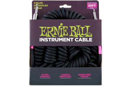 Ernie Ball 6044 Instrument Cable Coiled Ultraflex Straight/Straight - Black - 9.14 m (30')