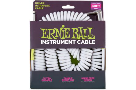 Ernie Ball 6045 Instrument Cable Coiled Ultraflex Straight/Angle - White - 9.14 m (30')
