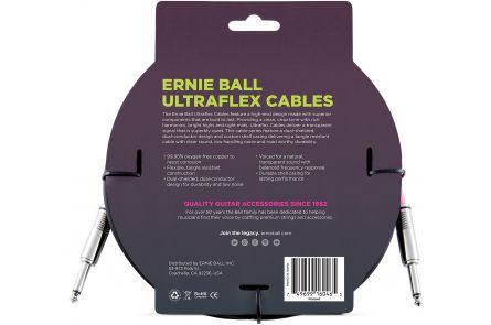 Ernie Ball 6046 Instrument Cable Straight/Straight - Black - 6.09 m (20')
