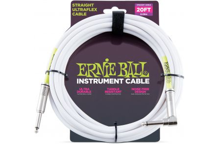 Ernie Ball 6047 Instrument Cable Straight/Angle - White - 6.09 m (20')
