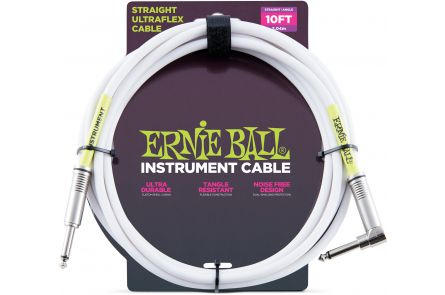 Ernie Ball 6049 Instrument Cable Straight/Angle - White - 3.04 m (10')