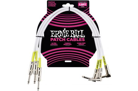 Ernie Ball 6056 Patch Cable Straight/Angle - White - 46 cm (1.5'') - 3 Pack