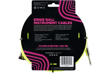 Ernie Ball 6057 Instrument Cable Straight/Angle - Neon Yellow - 7.62 m (25')