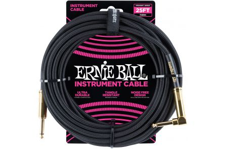 Ernie Ball 6058 Instrument Cable Straight/Angle - Black - 7.62 m (25')
