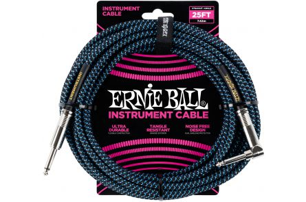 Ernie Ball 6060 Instrument Cable Straight/Angle - Black/Neon Blue - 7.62 m (25')