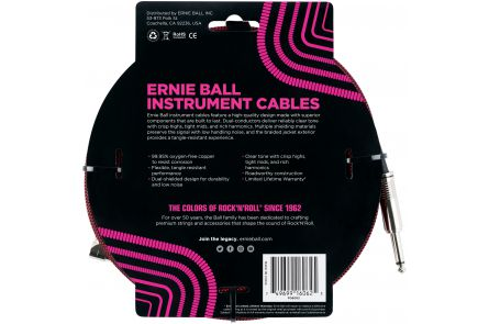 Ernie Ball 6062 Instrument Cable Straight/Angle - Black/Red - 7.62 m (25')