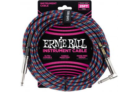 Ernie Ball 6063 Instrument Cable Straight/Angle - Blue/Red/White - 7.62 m (25')