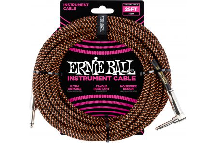 Ernie Ball 6064 Instrument Cable Straight/Angle - Black/Neon Orange - 7.62 m (25')