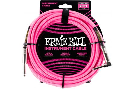 Ernie Ball 6065 Instrument Cable Straight/Angle - Neon Pink - 7.62 m (25')