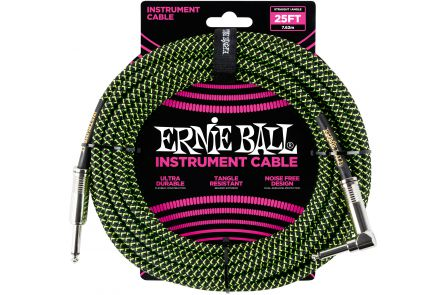 Ernie Ball 6066 Instrument Cable Straight/Angle - Black/Neon Green - 7.62 m (25')