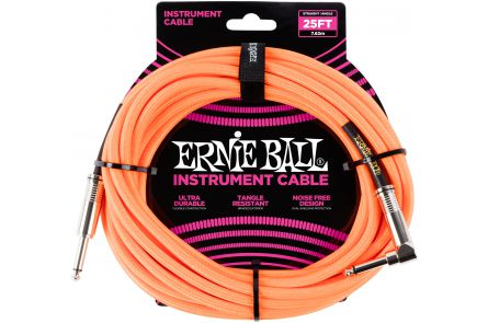 Ernie Ball 6067 Instrument Cable Straight/Angle - Neon Orange - 7.62 m (25')