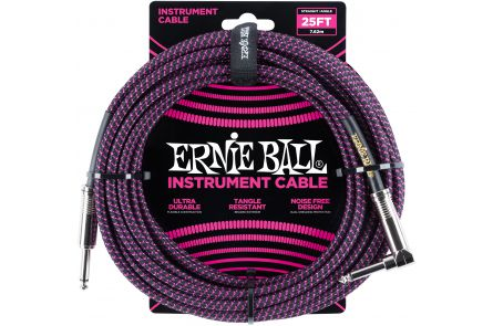 Ernie Ball 6068 Instrument Cable Straight/Angle - Black/Neon Violet - 7.62 m (25')