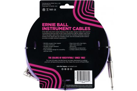 Ernie Ball 6069 Instrument Cable Straight/Angle - Violet - 7.62 m (25')