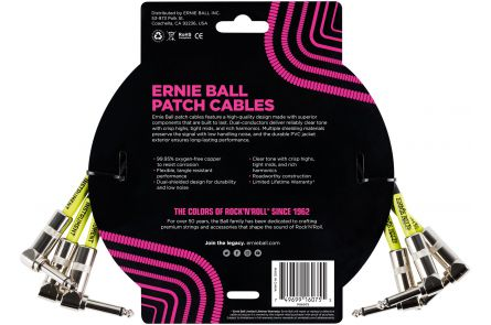 Ernie Ball 6075 Patch Cable Angle/Angle - Black - 30 cm (1') - 3 Pack