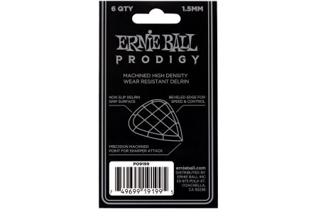Ernie Ball 9199 Prodigy Guitar Pick Standard - 1.50 mm - Black - 6 Pack