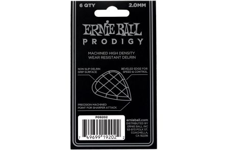Ernie Ball 9202 Prodigy Guitar Pick Standard - 2.00 mm - White - 6 Pack