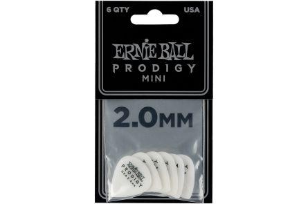 Ernie Ball 9203 Prodigy Guitar Pick Mini - 2.00 mm - White - 6 Pack