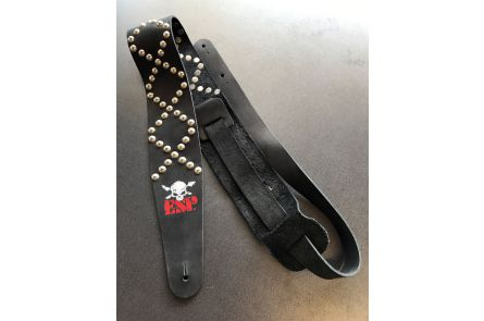 ESP ES-S-58TA BK Leather Strap - Black w/ Rivets & Skull Logo