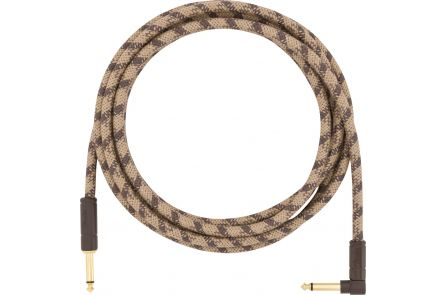 Fender 10' Angled Festival Instrument Cable - Pure Hemp - Brown Stripe