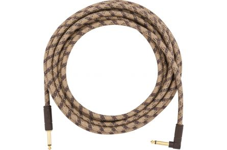 Fender 18.6' Angled Festival Instrument Cable - Pure Hemp - Brown Stripe