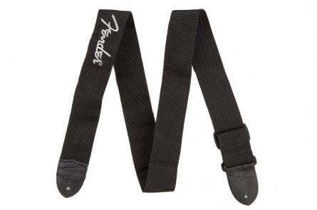 "Fender 2"" Black Poly Strap w/ Grey Logo"