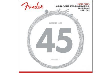 Fender 7250 Bass Strings - Nickel Plated Steel - Long Scale - 7250M .045-.105 Gauges - (4)