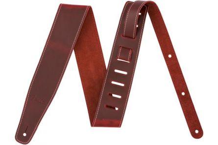 "Fender Broken-In Leather Strap - Red 2.5"""