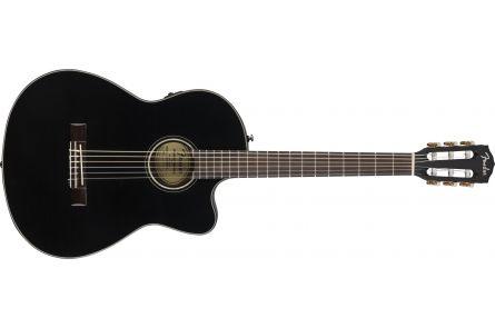 Fender CN-140SCE Nylon Thinline - Walnut Fingerboard - Black w/case