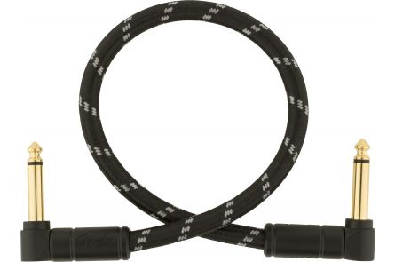 Fender Deluxe Series Instrument Cable - Angle/Angle - 1' - Black Tweed